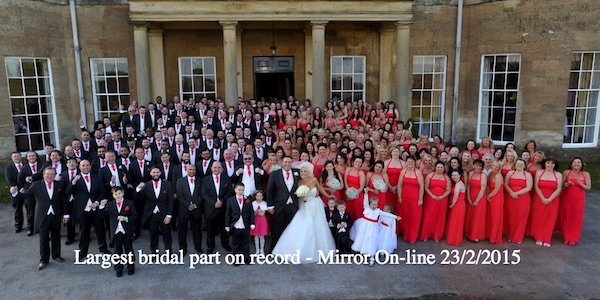 A world record wedding has taken place at Rudding Park Hotel in Harrogate North Yorkshire. Amy Ewing and Alex Simmonds smashed the previous Guiness World record for Bridesmaids and Ushers by having a massive 136 Bridesmaids and 97 Ushers (Photo: Ross Parry / SWNS) http://www.mirror.co.uk/news/gallery/record-wedding-5218177