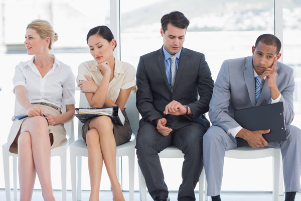 Job seekers waiting for job interview