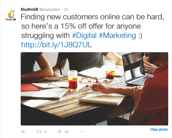 Example of an engaging tweet with a special offer